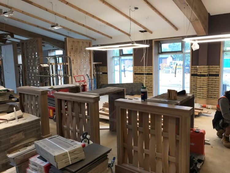 woodworking in the bar area at Norfolk Woods