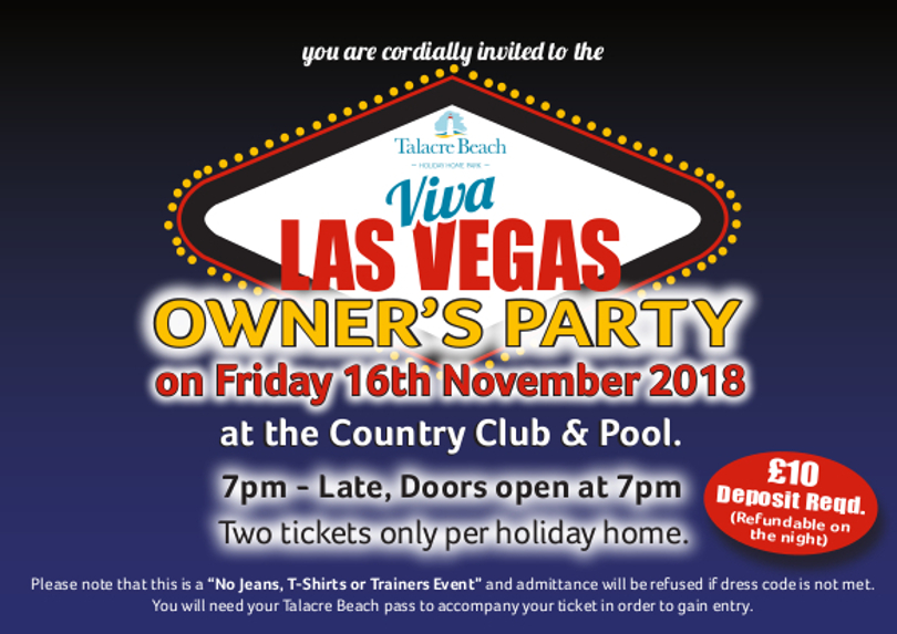 Photo of the ticket for the owner's party Las Vegas themed evening