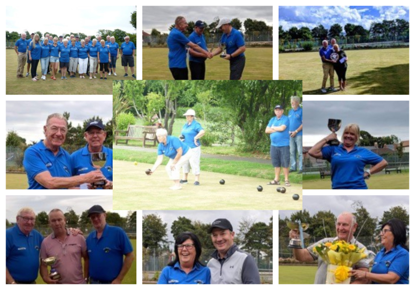 A collage photo of the New Pines bowling club team playing a game