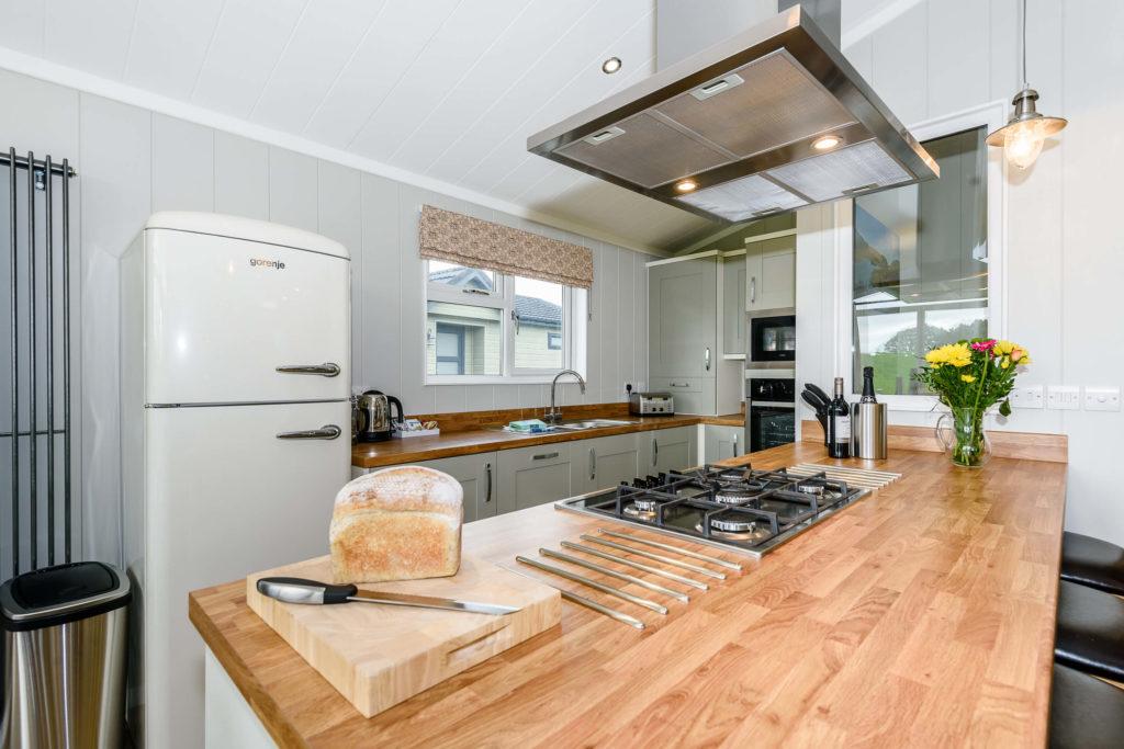 kitchen island with fridge/freezer