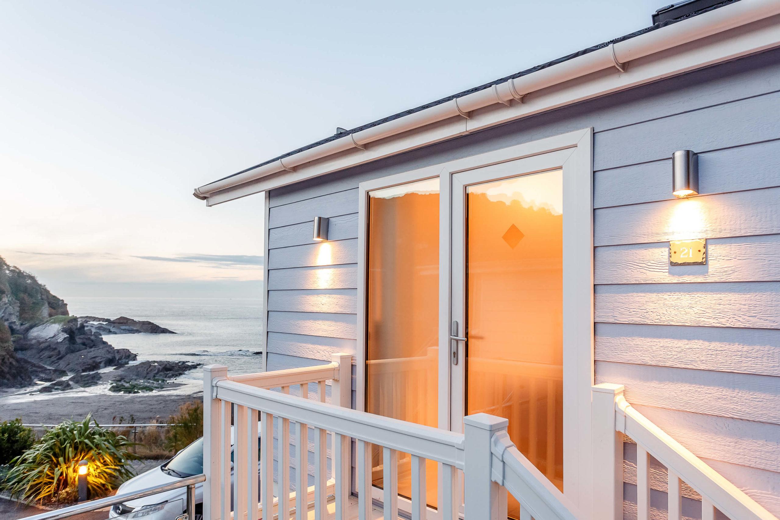 Exterior shot of a beach hut