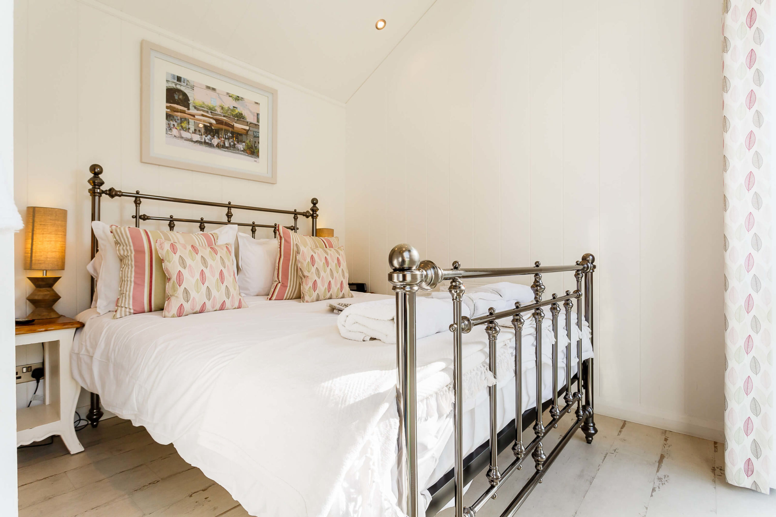 Interior shot of a bedroom in a beach hut