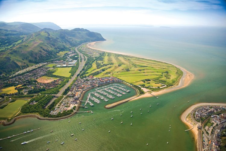Aerial shot of the Conwy and the Marina