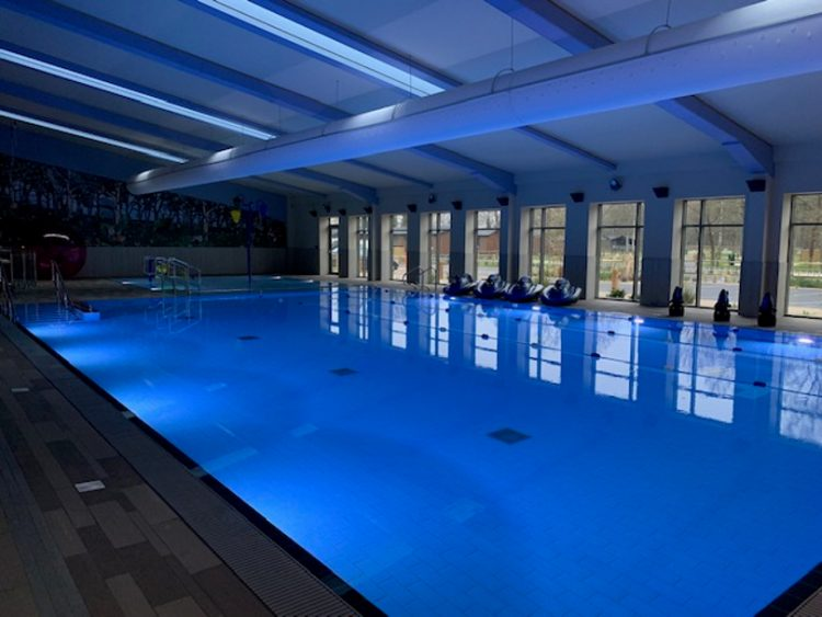 Interior shot of the heated swimming pool at Norfolk Woods