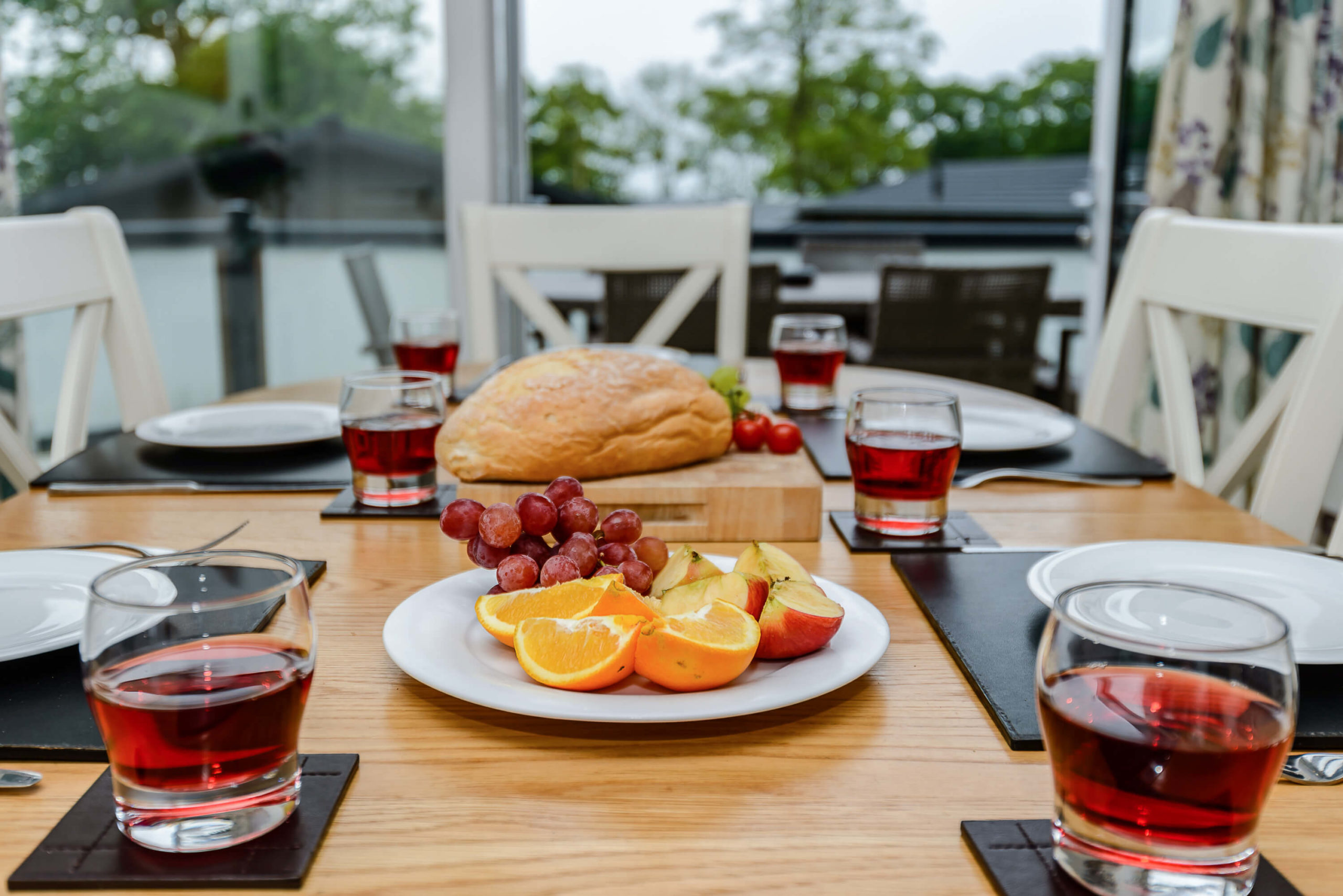 Photo of a table of food in a Woodside Coastal lodge