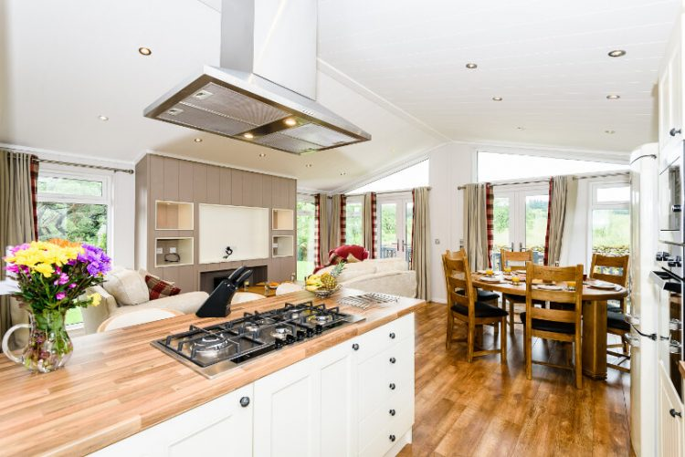 wooden effect flooring in the lounge/kitchen showing the overhead extractor fan