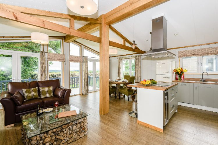 lounge with exposed wooden beams