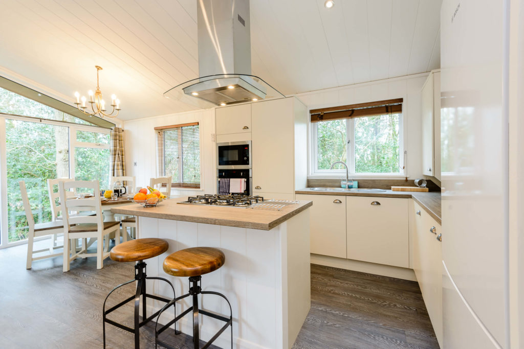 Kitchen in a lodge at Wareham Forest