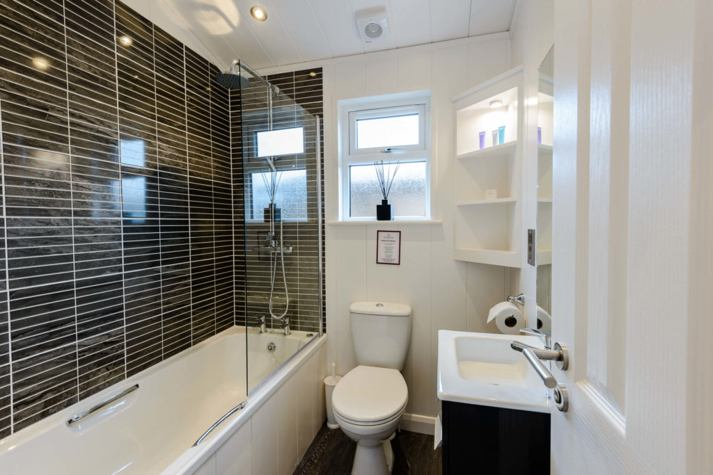 Interior shot of a bathroom in a lodge at Wareham Forest