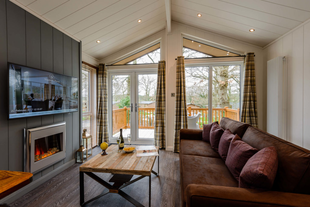 Interior shot of lounge in a lodge at Wareham Forest