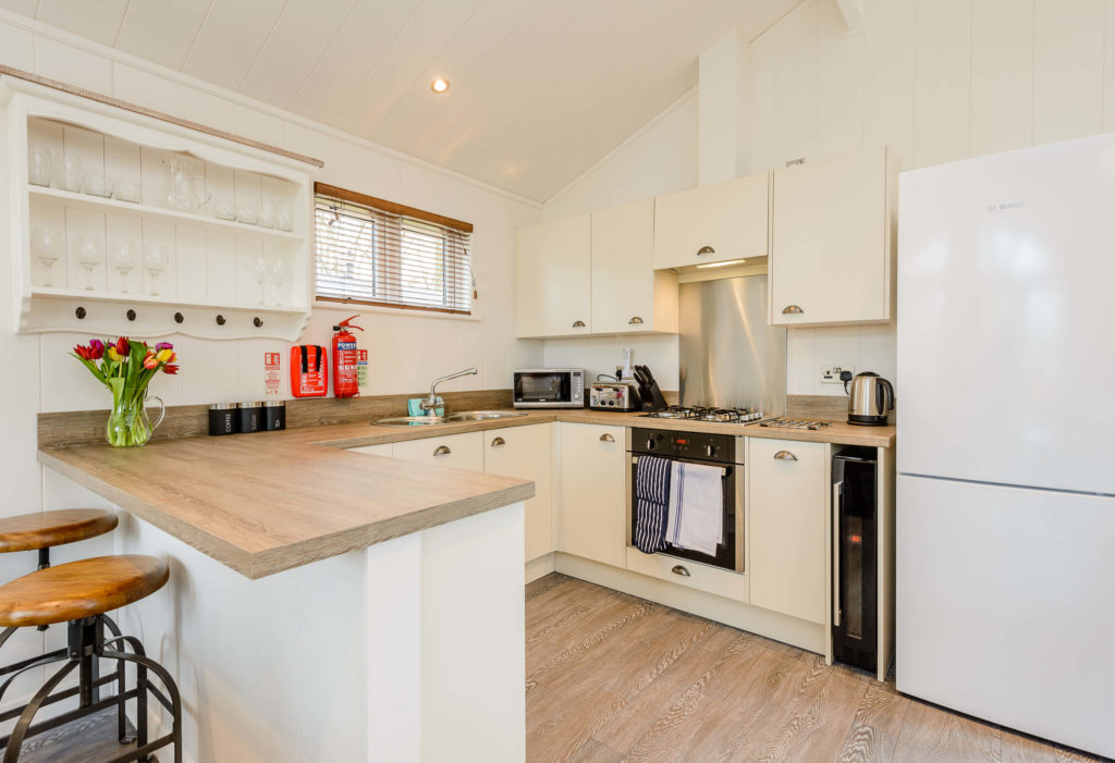 Interior shot of a kitchen in a lodge at Wareham Forest