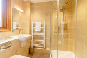 Interior shot of a bathroom in a lodge at Tilford Woods
