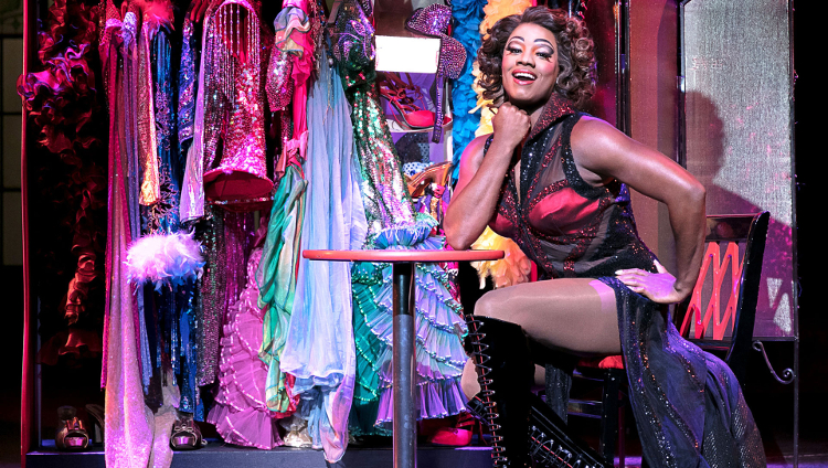 Cast member of Kinky Boots captured during a performance