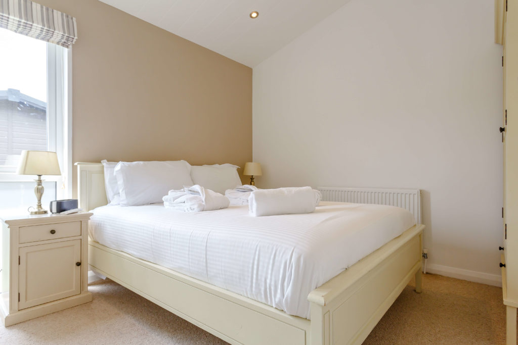 Interior shot of a Mullion Cove lodge double bedroom
