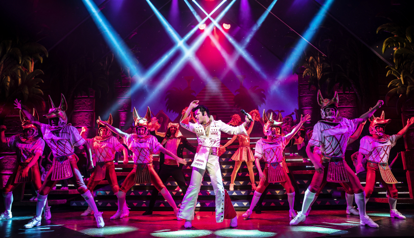 Photo of Elvis in Joseph and the Technicolor Dreamcoat performing on stage
