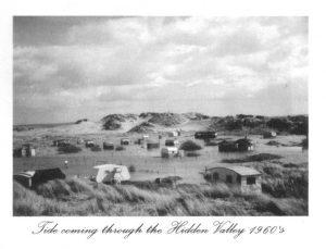Old photo of caravans at Talacre Beach
