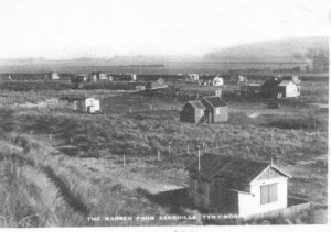 Old photo of the housing at Talacre Beach