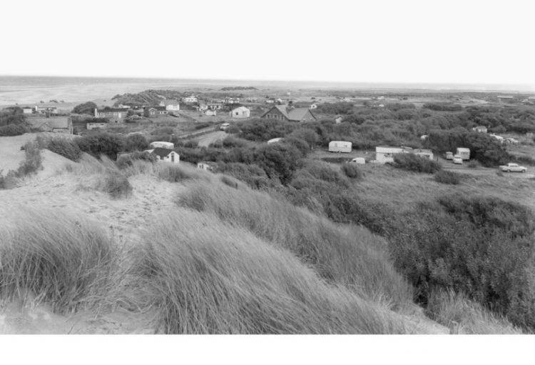 Old photo of the sand dunes and houses at Talacre