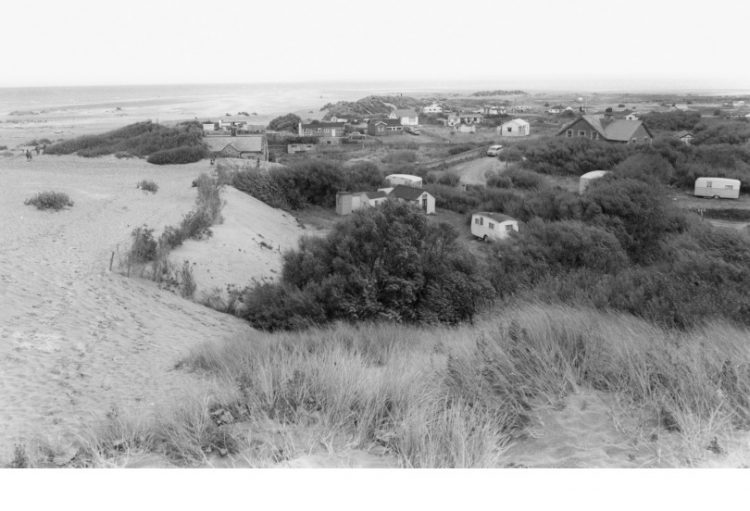 Old photo of sand dunes and houses at Talacre