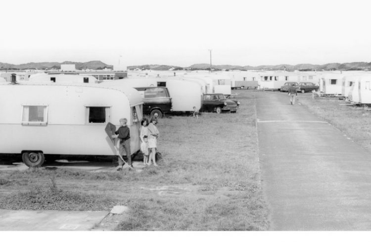 Old photo of caravans at Talacre