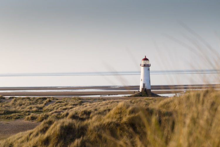 Photo of the Talacre lighthouse from the distance