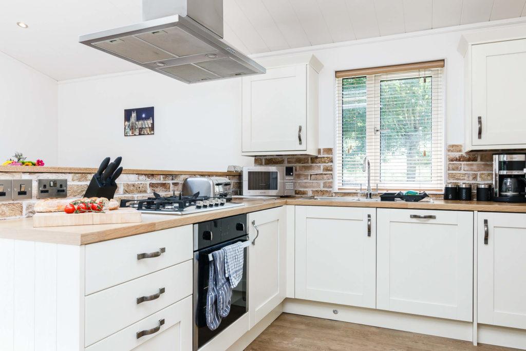 Interior shot of a Bath Mill lodge kitchen