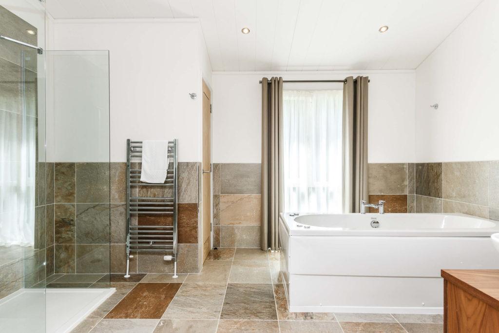Interior shot of a bathroom in a lodge at Bath Mill