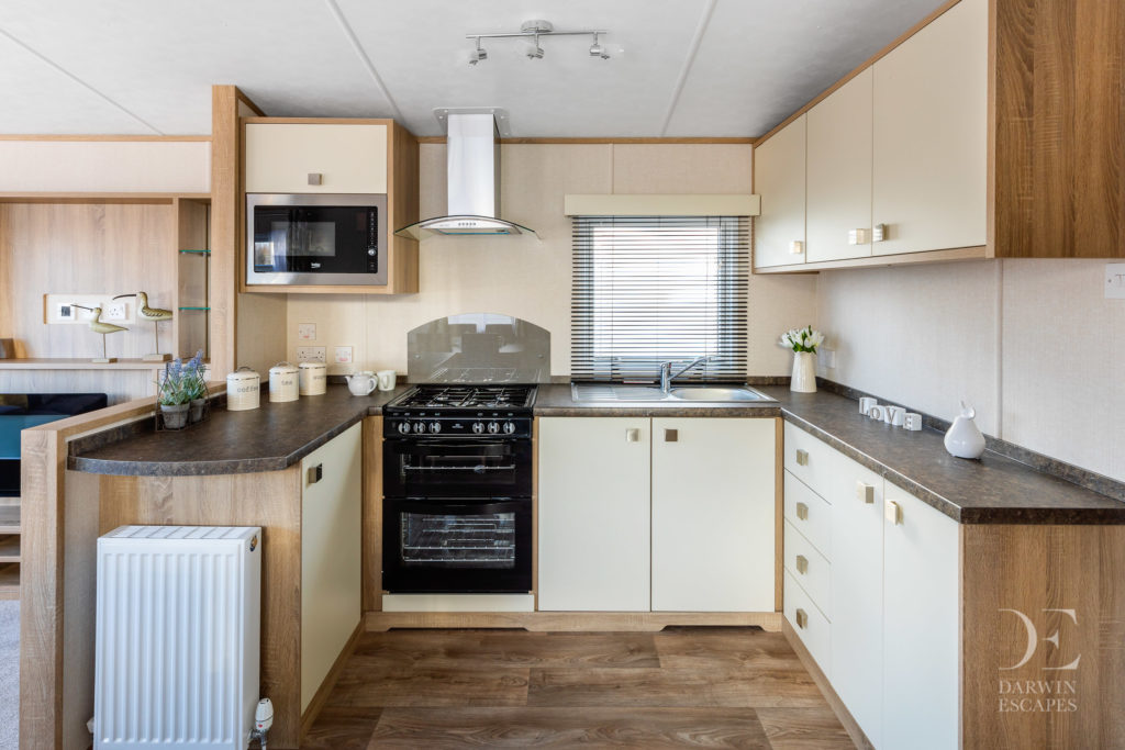 Interior shot of the kitchen in the Carnaby Oakdale static caravan