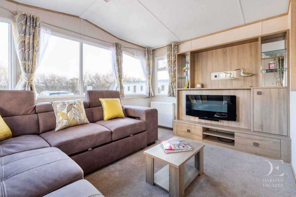 Interior shot of the living room in the Carnaby Oakdale static caravan