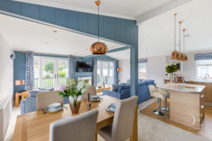 Interior shot of the open plan living area in the Bowmoor lodge