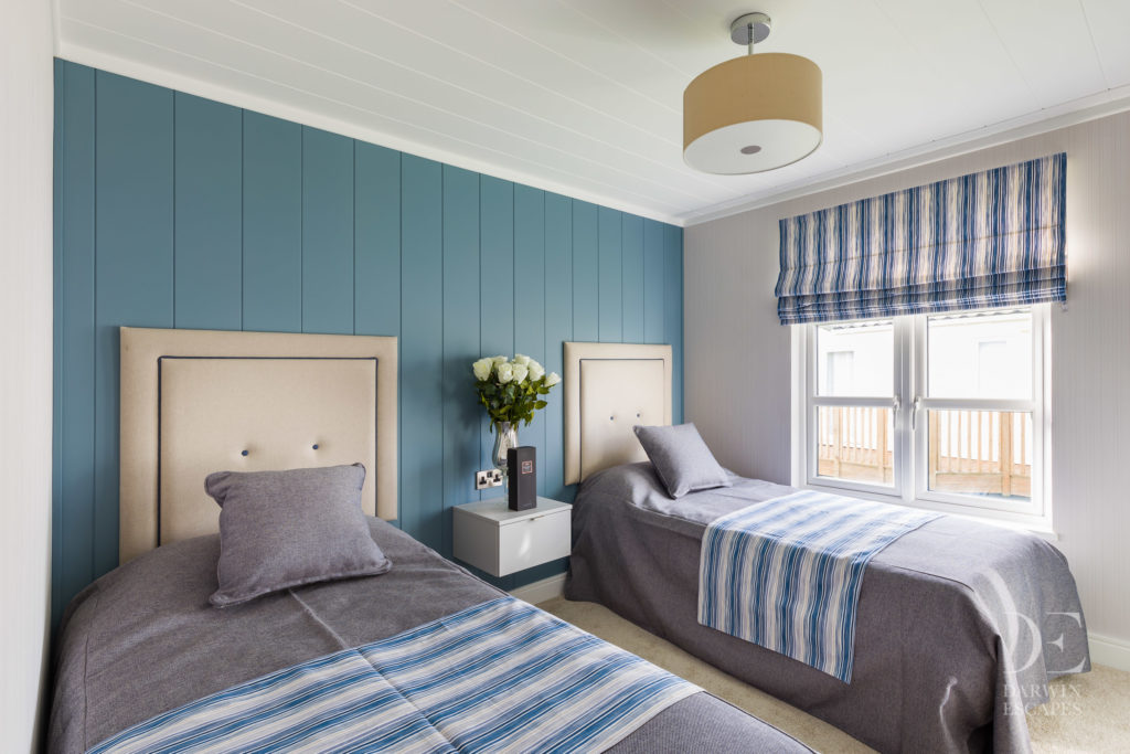 Interior shot of the twin bedroom in the Bowmoor lodge
