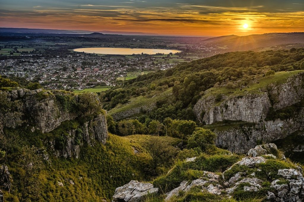 Photo of the Cheddar Gorge during a sunset