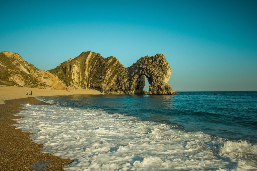 Photo of the Durdle Door in Dorset from the water edge