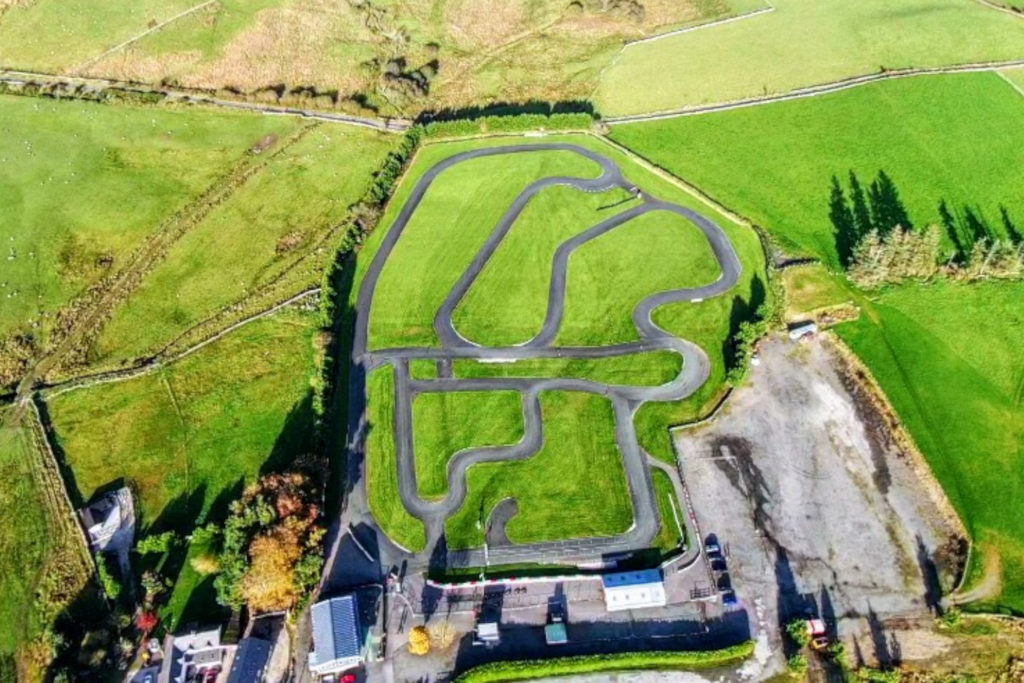 Aerial view of the GYG karting race track