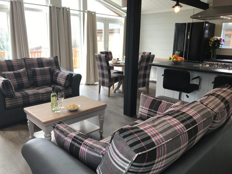 Interior shot of a Canterbury Reach lodge open plan living area