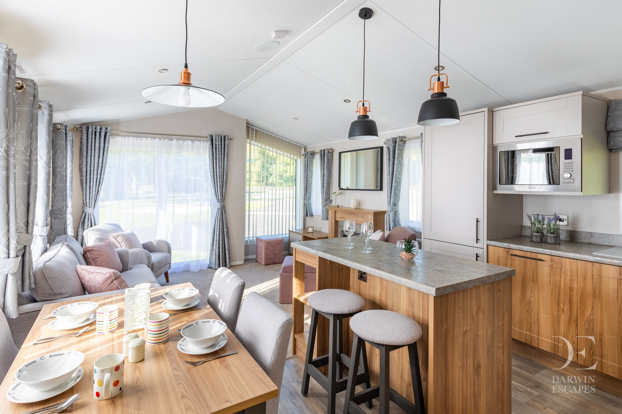 Interior shot of the open plan living area in the Willerby Waverly