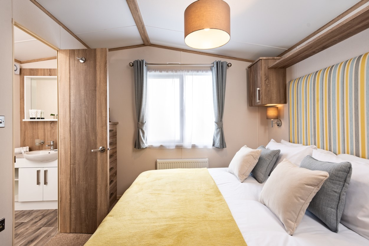 Interior shot of the master bedroom in the Sunseeker Surpeme
