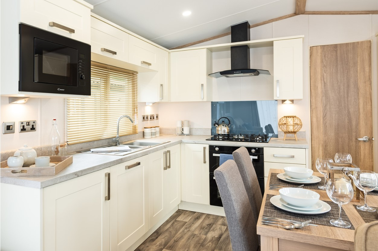 Interior shot of the kitchen in the Sunseeker Surpeme