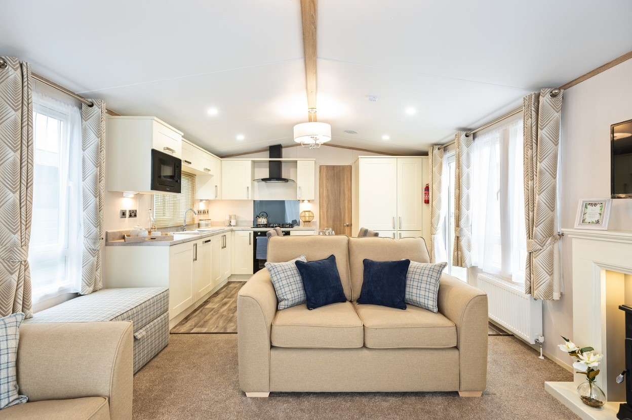 Interior shot of the open plan living area in the Sunseeker Surpeme