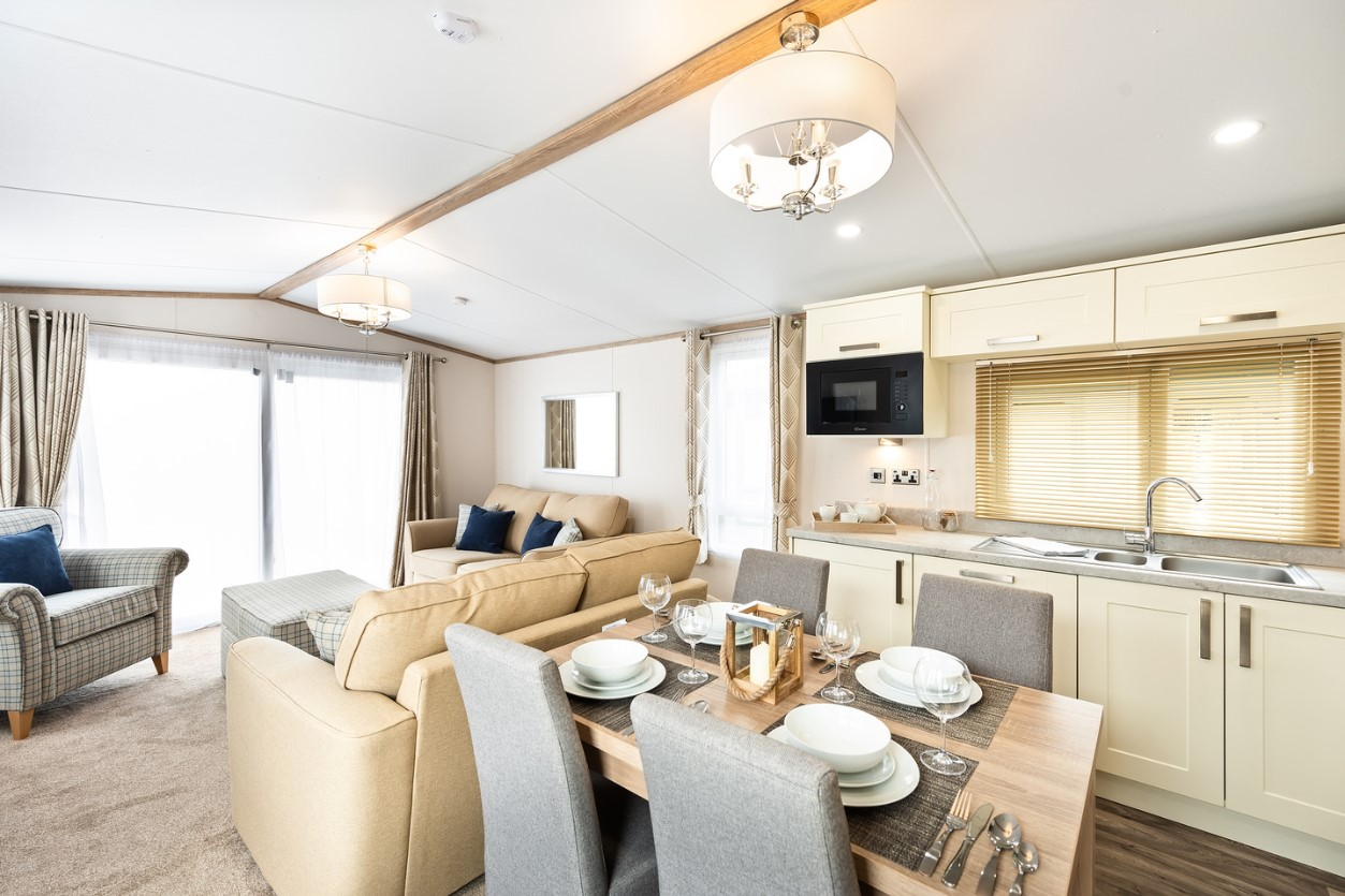 Interior shot of the open plan living in the Sunseeker Surpeme