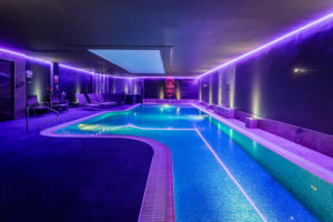 pool at aberconwy, with purple runner lights on