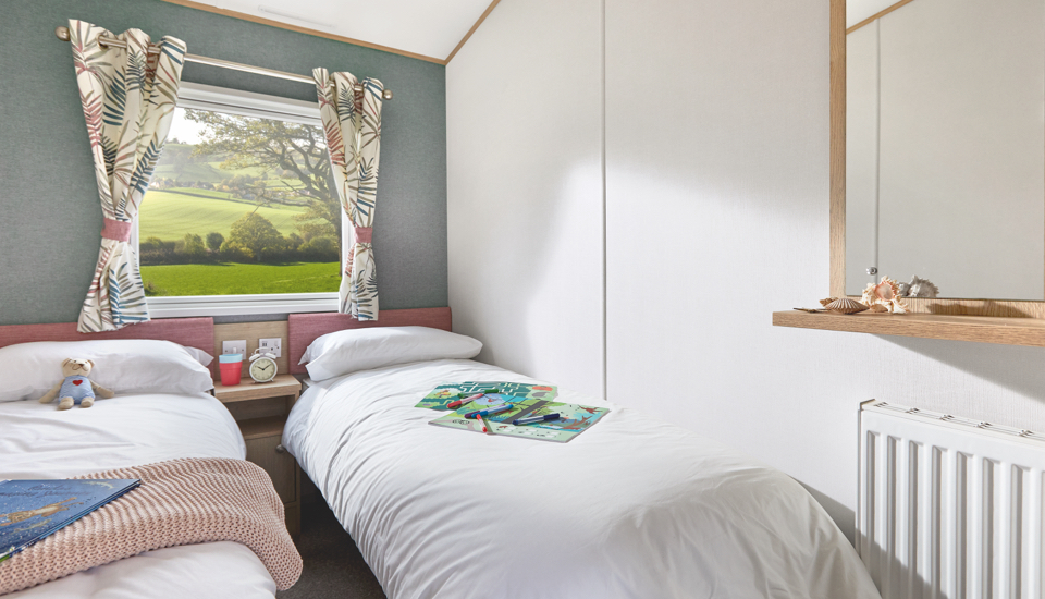 Interior shot of the twin bedroom in the ABI Roecliffe