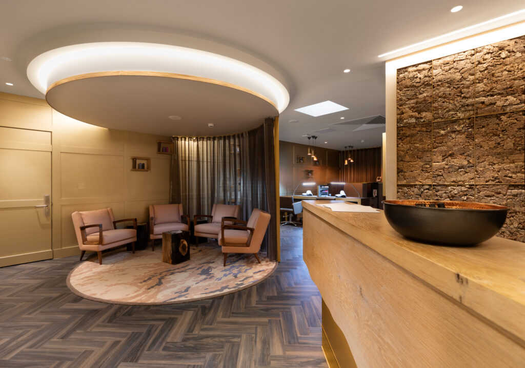 relaxing spa reception room in norfolk woods