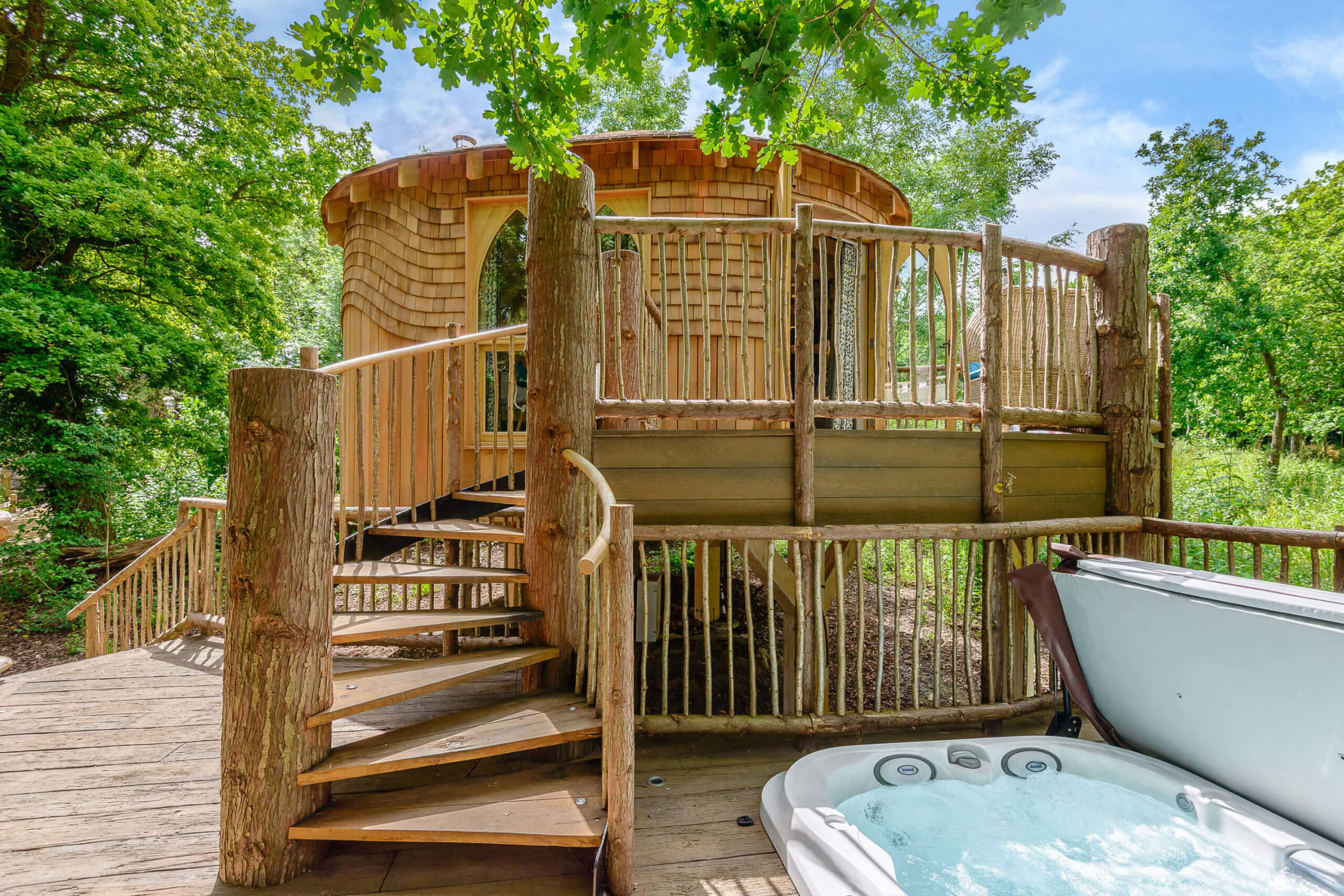 Exterior shot of the treehouse at Woodside Bay