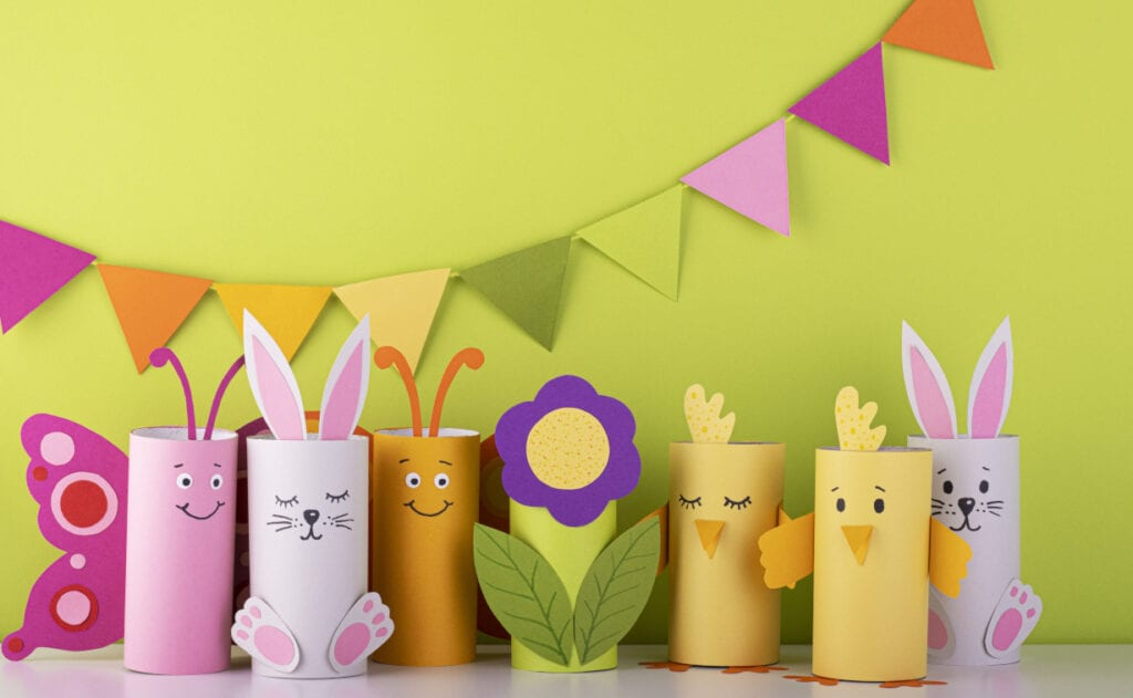 handmade toilet roll crafts, flowers, bunnies and little characters