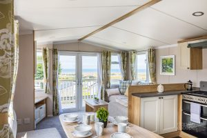 Interior shot of the living space of static caravan for sale