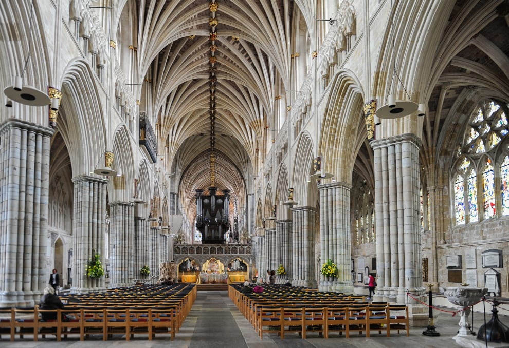 indoors at Exeter Cathedral showcasing the vaulted ceiling
