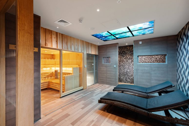 Interior shot of the sauna room at Norfolk Woods