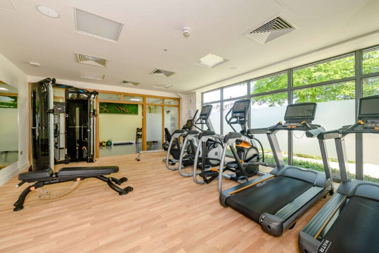 internal of Hawkchurch gym, with two treadmills, two rowing machines a weight bench and a view of the separate room in the back of the image